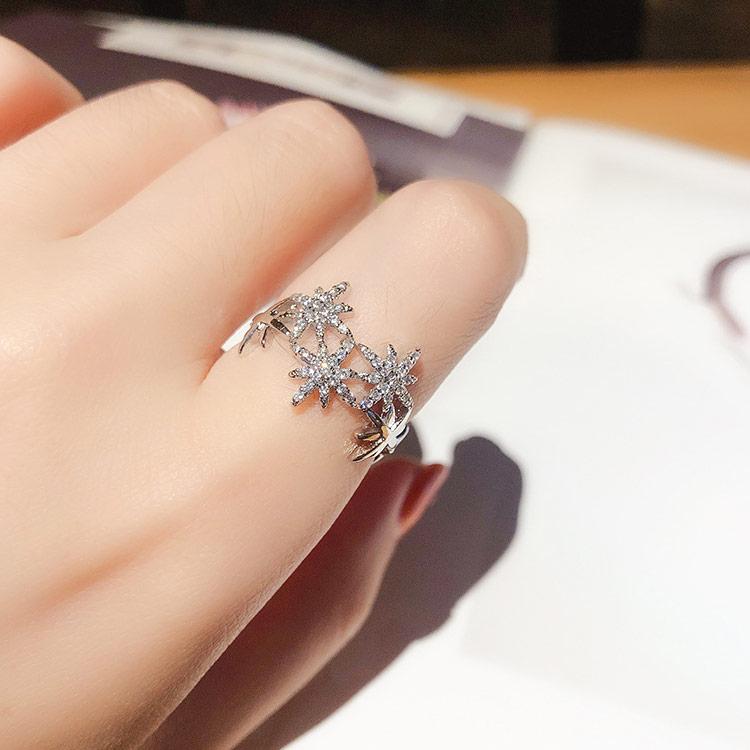 時尚奢華閃鑽芒星開口戒指