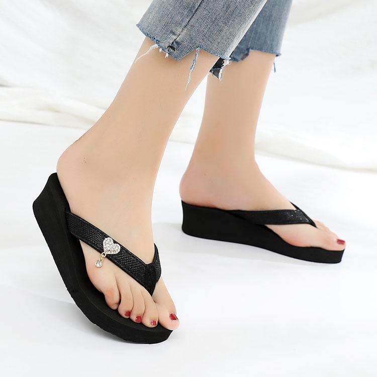 MIT台灣製-水鑽愛心厚底夾腳拖鞋