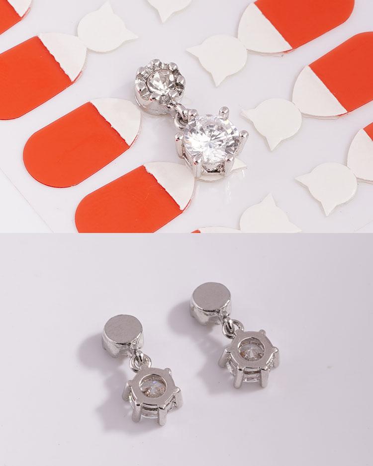 雙生六角花型鋯鑽 無耳洞黏貼式耳環 細節展示