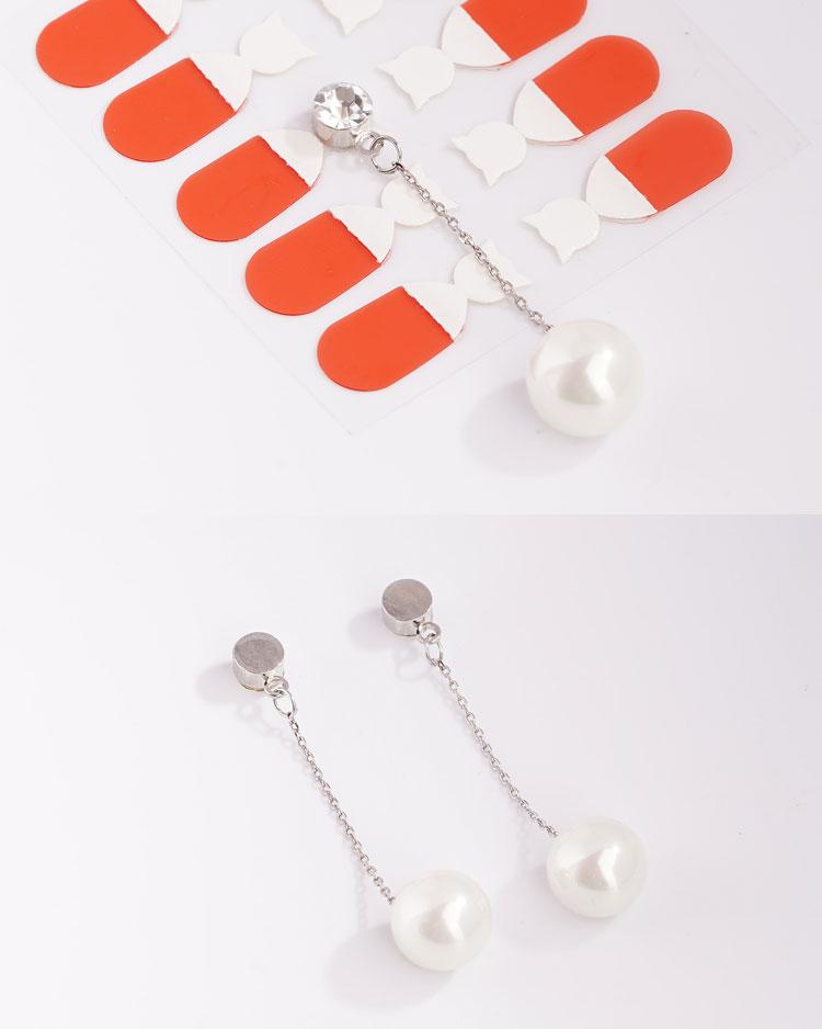 簡約高雅珍珠鋯鑽 耳針/無耳洞黏貼式耳環 細節展示