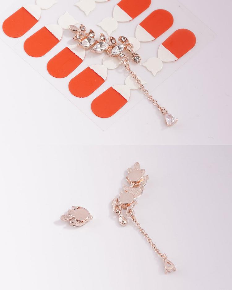 優雅水鑽月桂葉不對稱 耳針/無耳洞黏貼式耳環 細節展示
