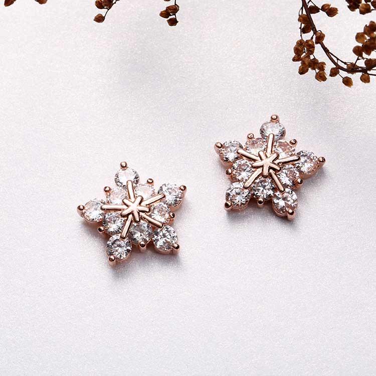 高雅氣質冷豔冰晶雪花鋯鑽 耳針/黏式耳環,桌上展示。
