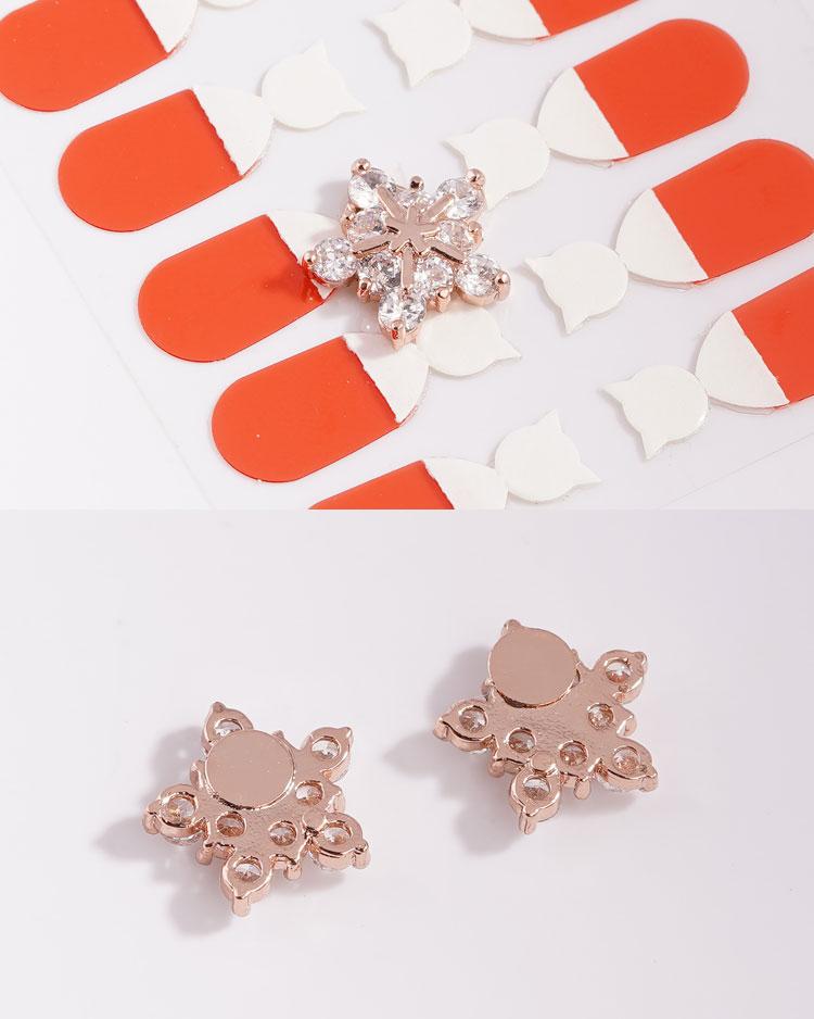 高雅氣質冷豔冰晶雪花鋯鑽 耳針/無耳洞黏貼式耳環 細節展示