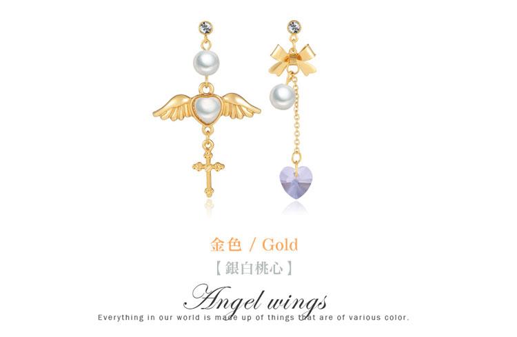 天使翅膀桃心十字架水晶玻璃不對稱黏式耳環,金色