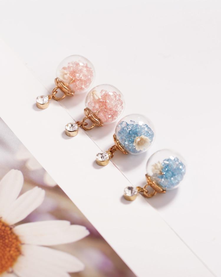 彩色水晶透明玻璃球乾花 耳針/無耳洞黏貼式耳環 場景展示
