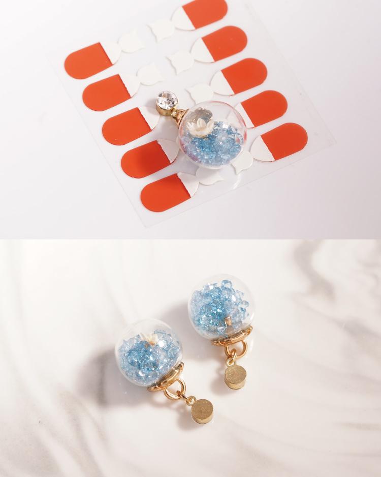 彩色水晶透明玻璃球乾花 耳針/無耳洞黏貼式耳環 細節展示