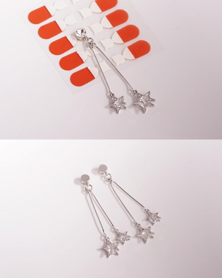 復古浪漫雙星亮鑽 耳針/無耳洞黏貼式耳環 細節展示