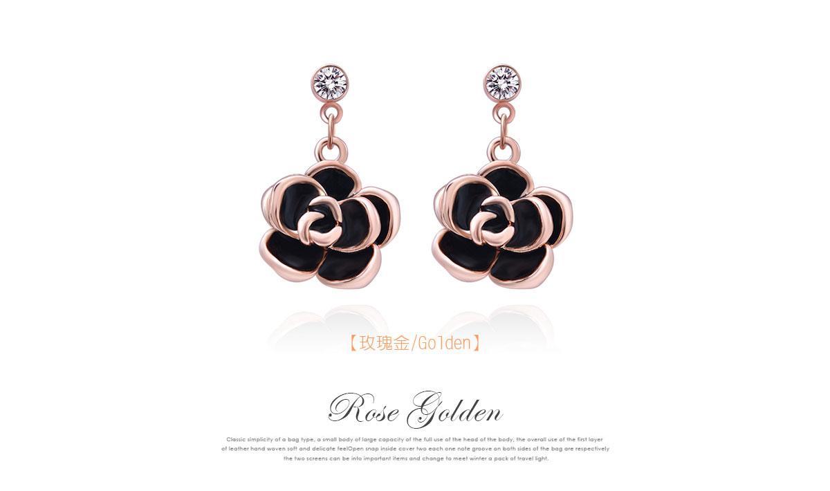 典雅鍍金黑玫瑰 耳針/黏式耳環,玫瑰金