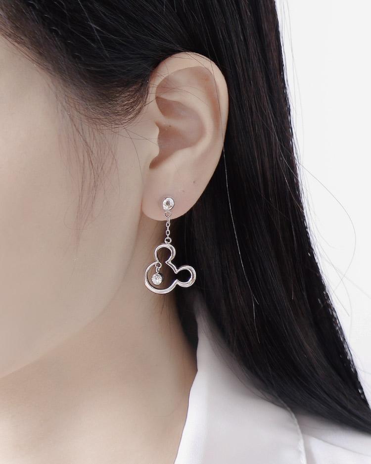 個性白金米鼠亮鑽 耳針/無耳洞黏貼式耳環 模特兒展示