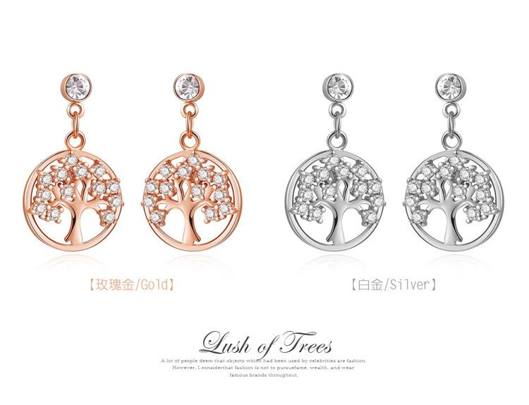 個性時尚鑲鑽小樹 耳針/黏式耳環,玫瑰金,白金