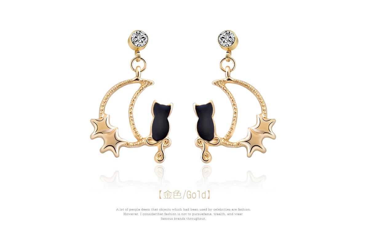 可愛星月黑貓 耳針/黏式耳環,金色