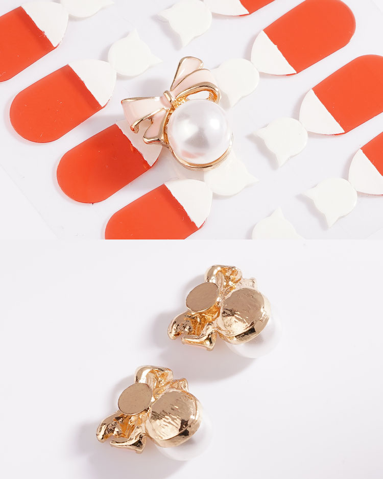 甜美可愛蝴蝶結珍珠 耳針/無耳洞黏貼式耳環 細節展示