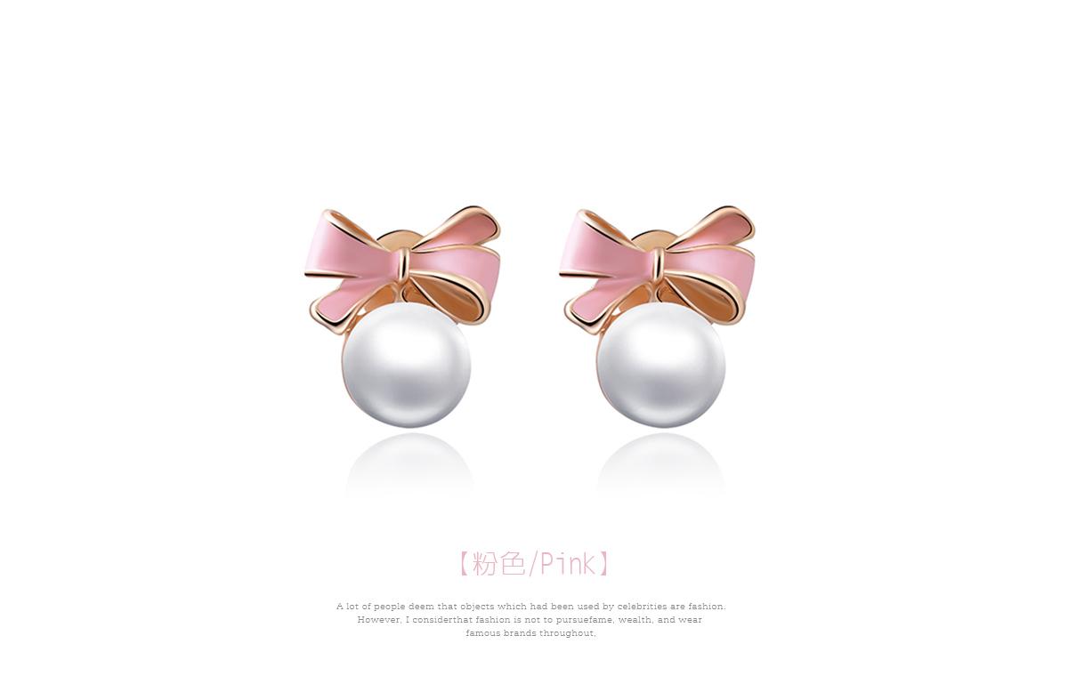 甜美可愛蝴蝶結珍珠 耳針/黏式耳環,粉色