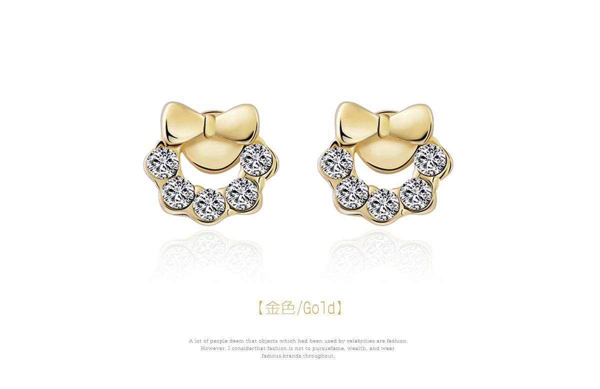 閃閃水鑽蝴蝶結小花環 耳針/黏式耳環,金色