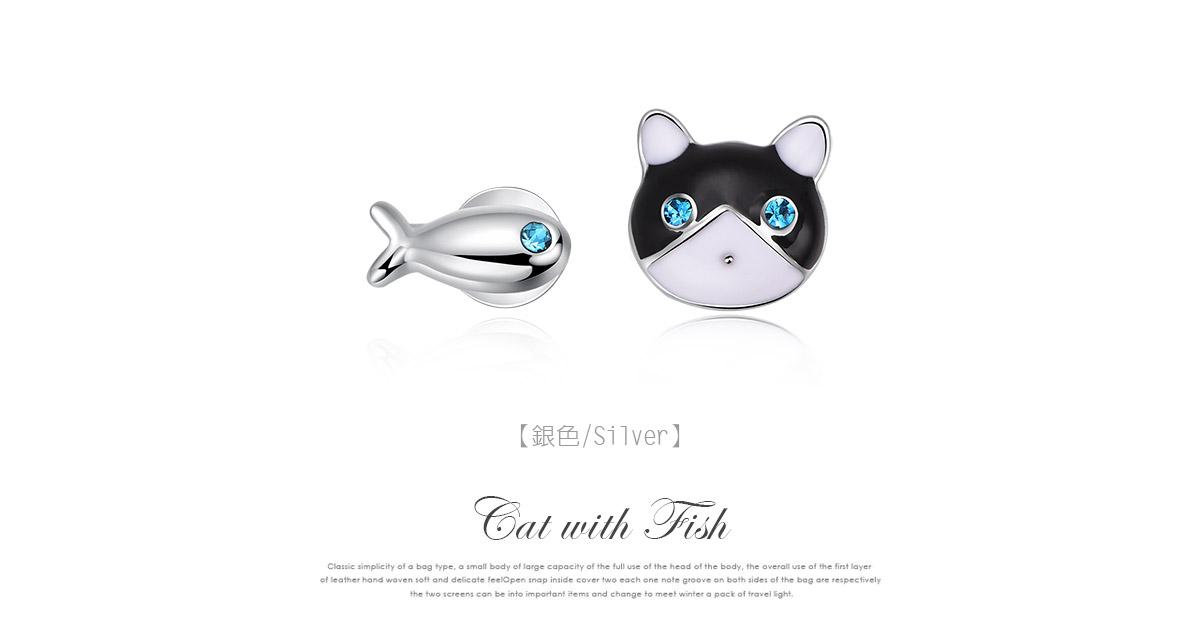 貓與小魚不對稱黏式耳環,銀色