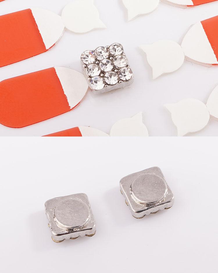 亮眼滿鑽方形 無耳洞黏貼式耳環 細節展示