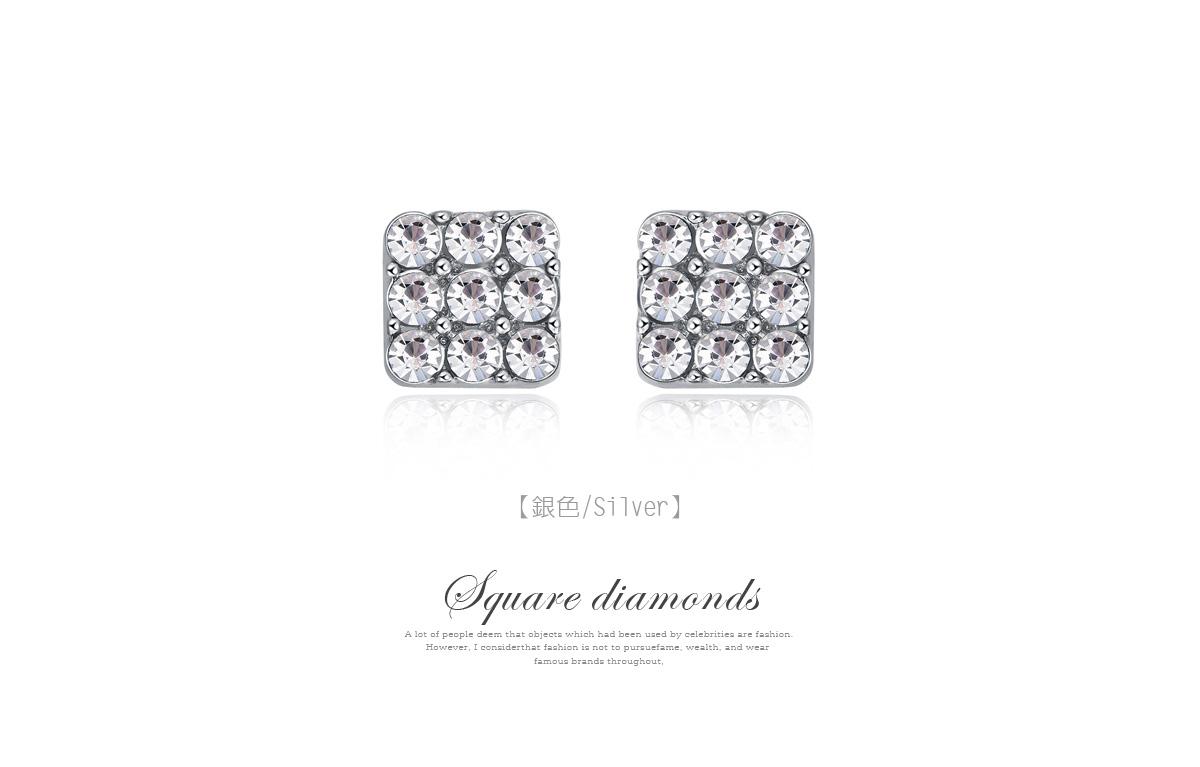 亮眼滿鑽方形黏式耳環,銀色