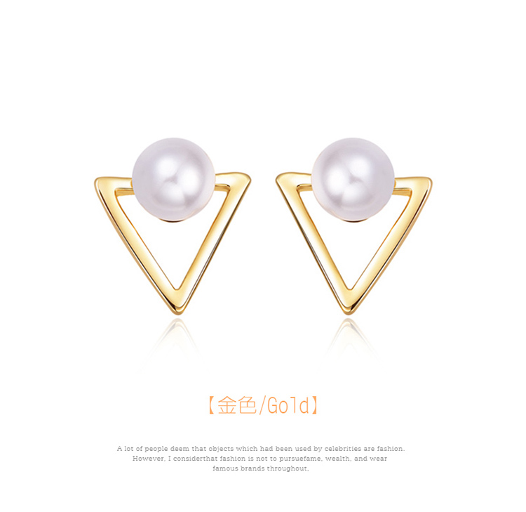 簍空金三角珍珠 耳針/黏式耳環,金色
