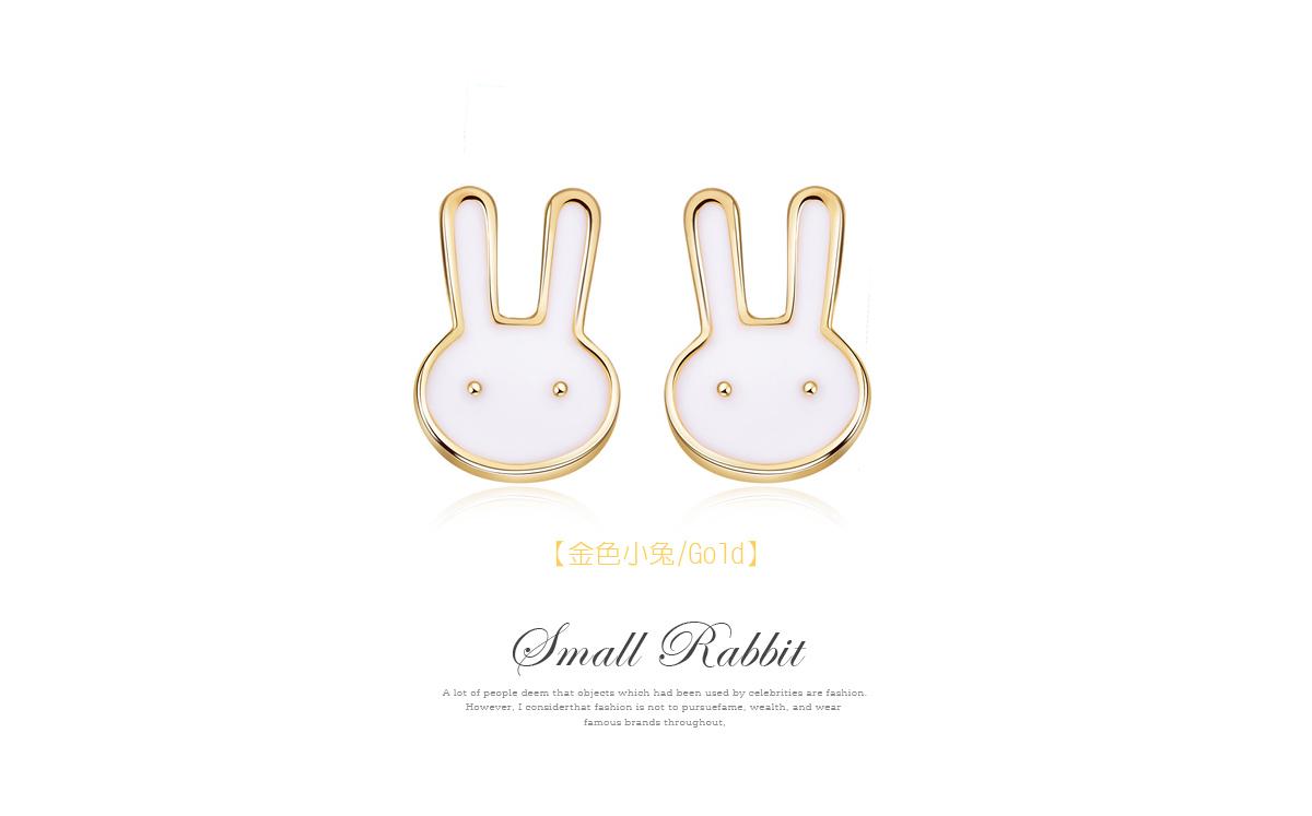 童趣卡通兔兔黏式耳環,金色小兔