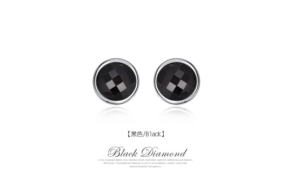 極簡吸睛黑色亮鑽 耳針/黏式耳環,黑色