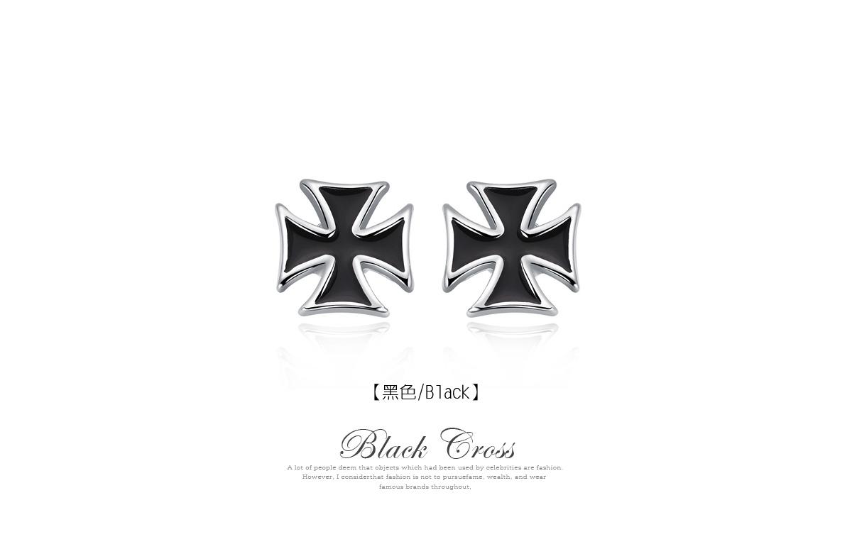 個性時尚黑十字黏式耳環,黑色