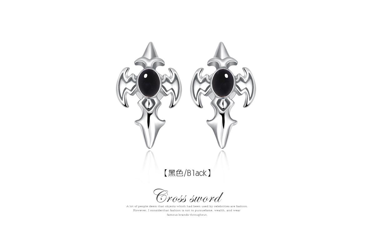 帥氣王者十字劍黏式耳環,黑色