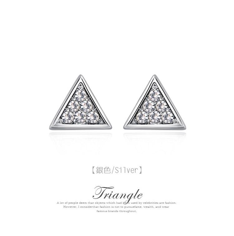 精緻立體三角 耳針/黏式耳環,銀色