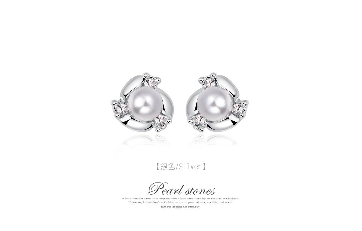 奢華高雅珍珠水鑽 耳針/黏式耳環,銀色