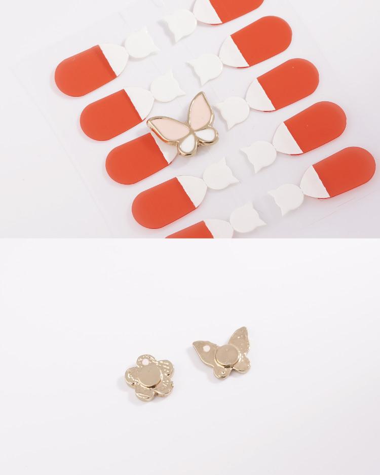 花與蝴蝶不對稱  耳針/無耳洞黏貼式耳環 細節展示