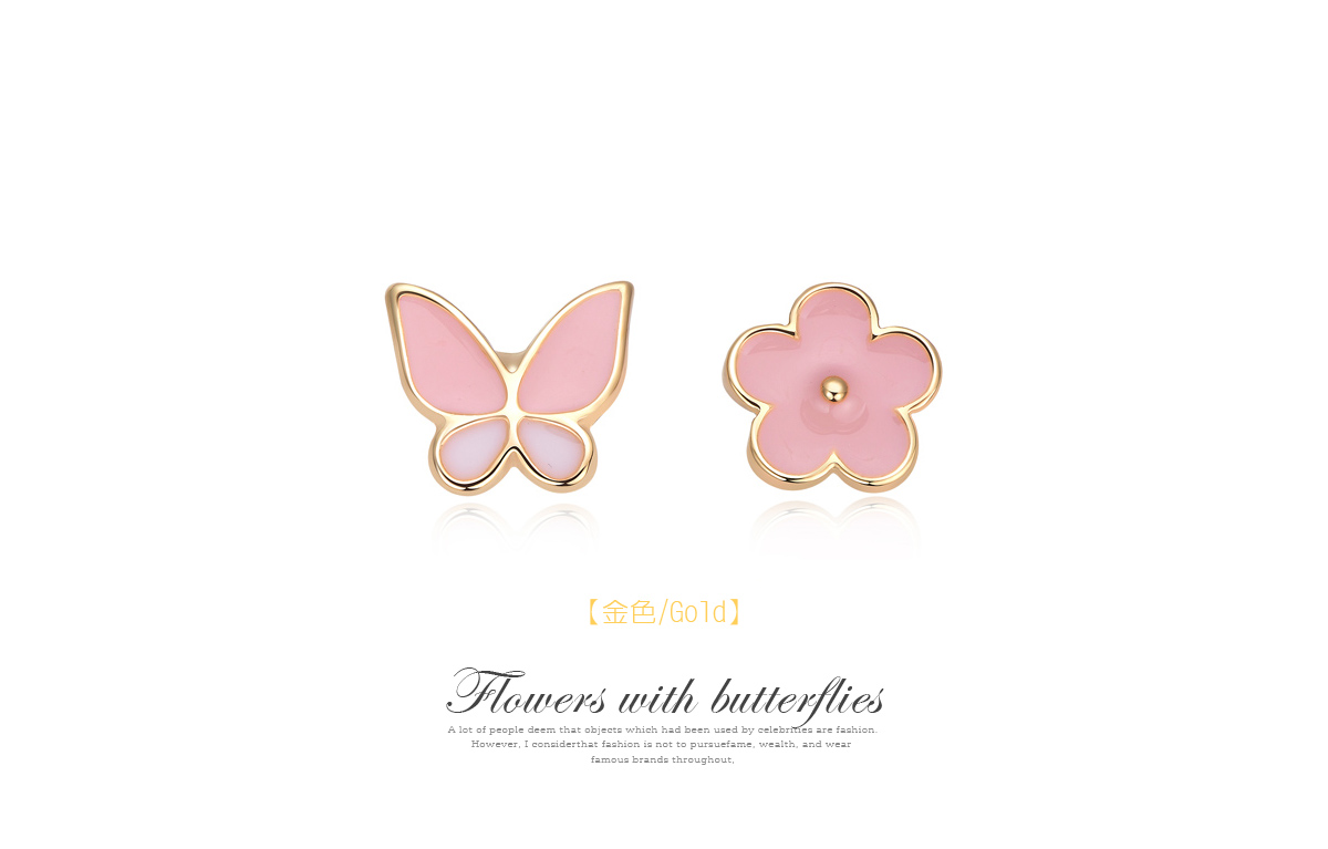 花與蝴蝶不對稱黏式耳環,金色