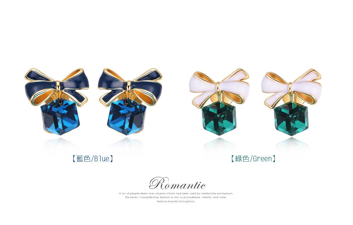 浪漫方塊水晶蝴蝶結 耳針/黏式耳環,藍色,綠色