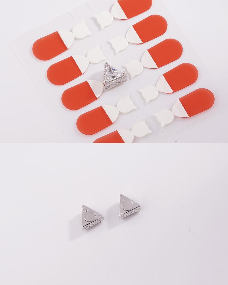 韓流三角鑲鑽 耳針/無耳洞黏貼式耳環 細節展示