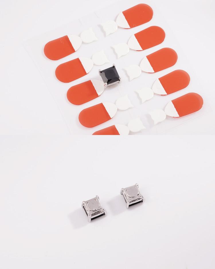 韓流方形鑲鑽 耳針/無耳洞黏貼式耳環 細節展示