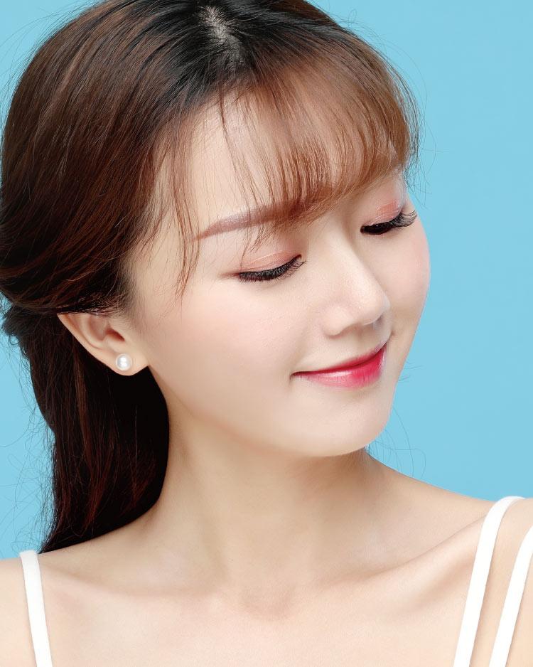 氣質簡約單珍珠 耳針/無耳洞黏貼式耳環 模特兒展示