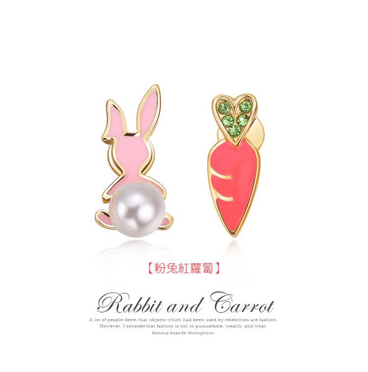 兔子與胡蘿蔔不對稱 耳針/黏式耳環,粉兔紅蘿蔔