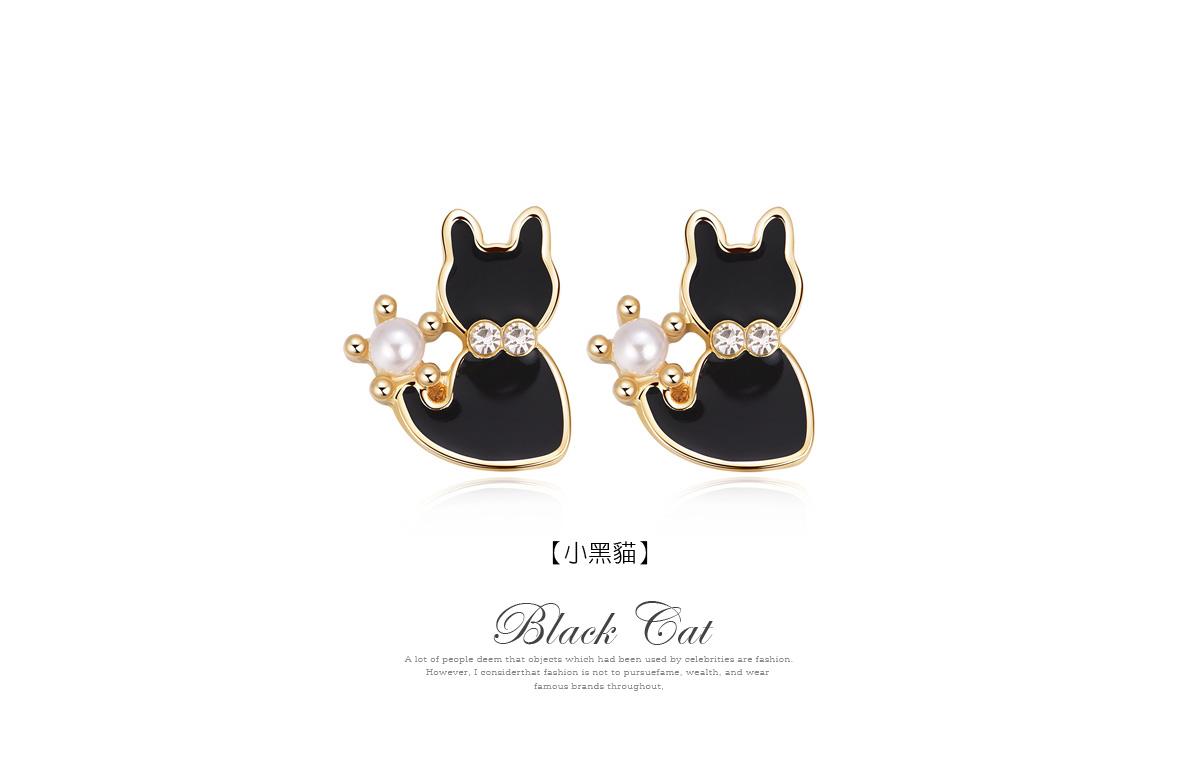 優雅珍珠小黑貓 耳針/黏式耳環,小黑貓
