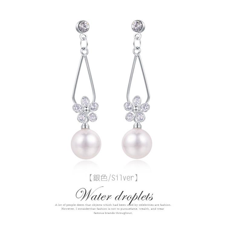 清晰氣質珍珠水滴花瓣 耳針/黏式耳環,銀色
