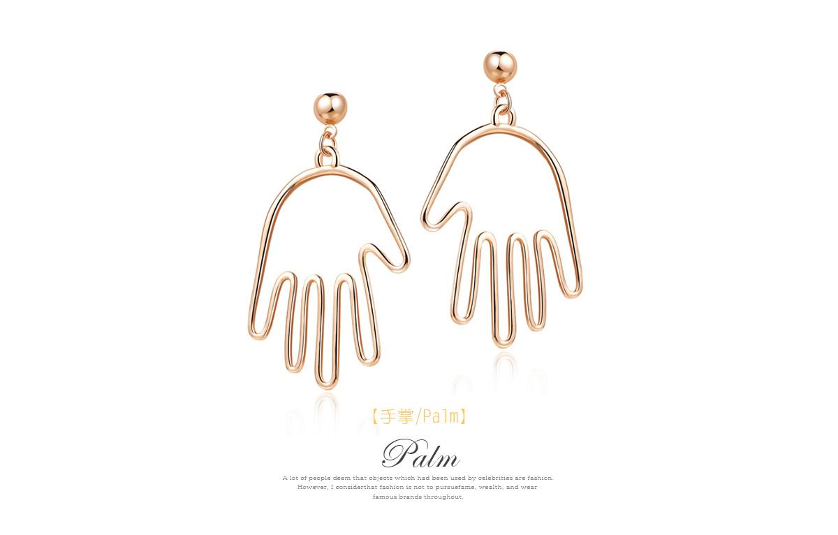 個性簍空手掌合金黏式耳環,手掌