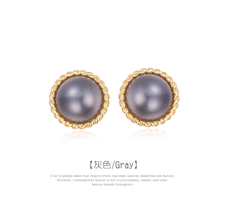 簡約復古灰色大珍珠黏式耳環,灰色
