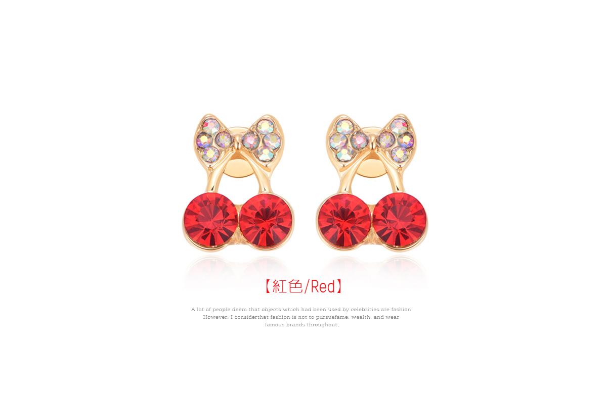 甜美可愛蝴蝶結櫻桃黏式耳環,紅色