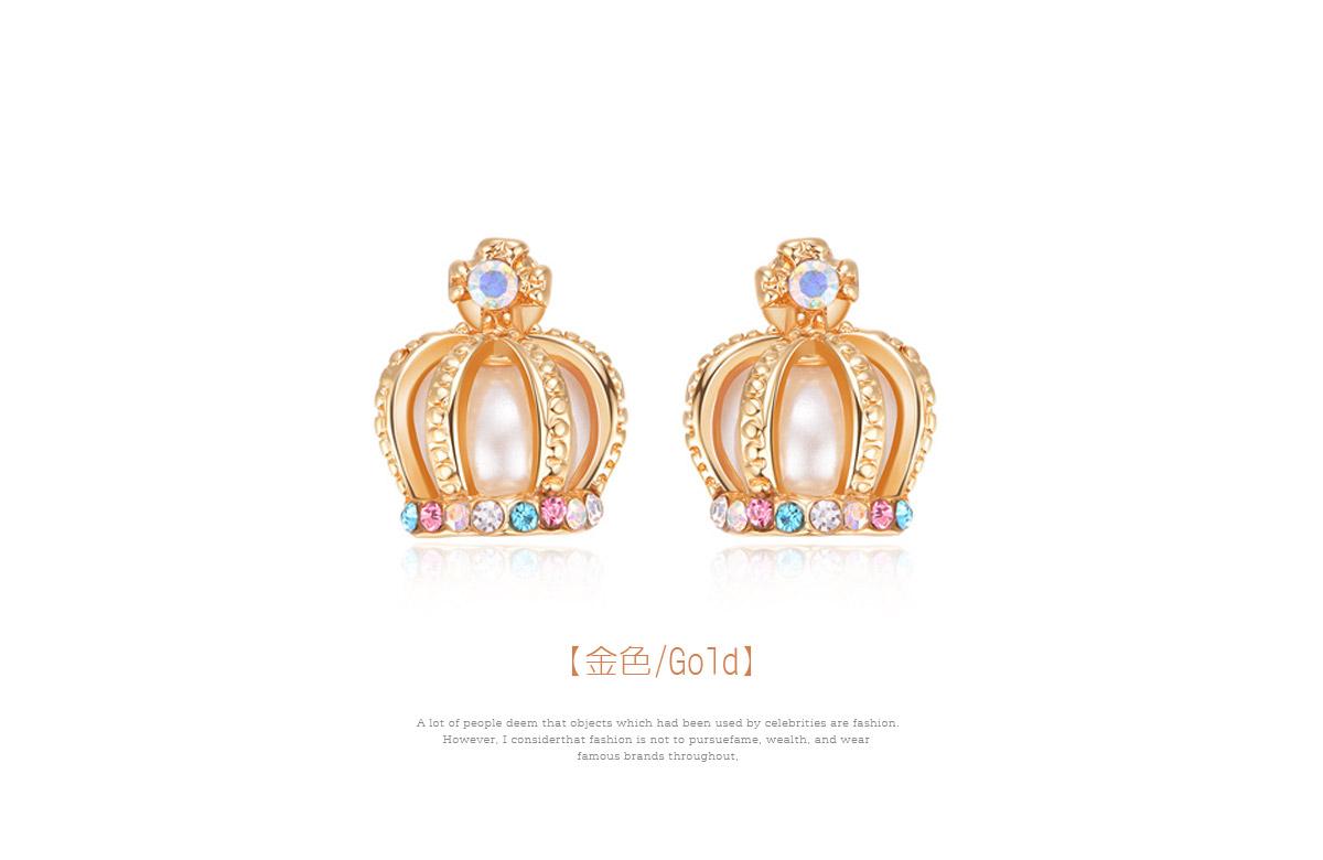 耀眼彩色鑲鑽皇冠黏式耳環,金色