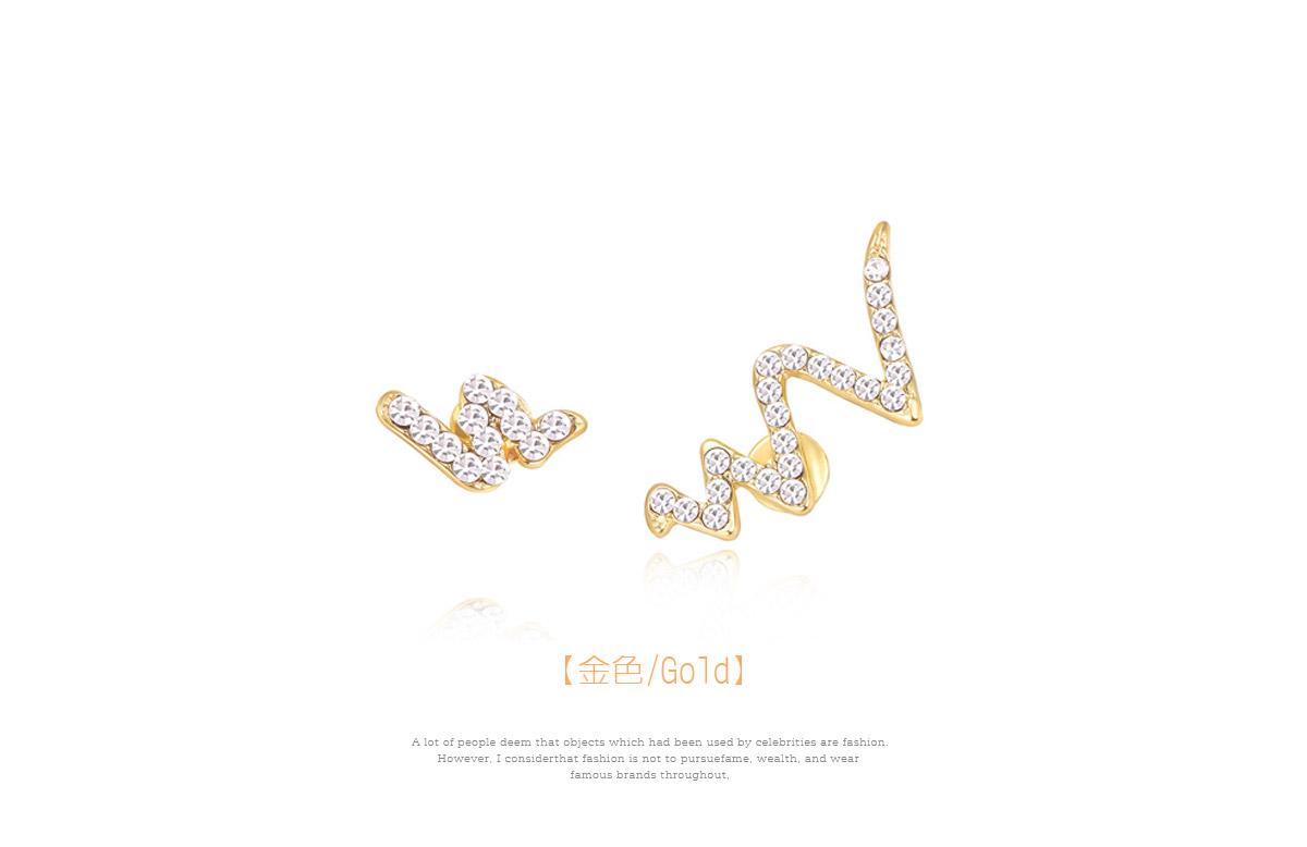 個性不對稱蛇形鋯鑽黏式耳環,金色
