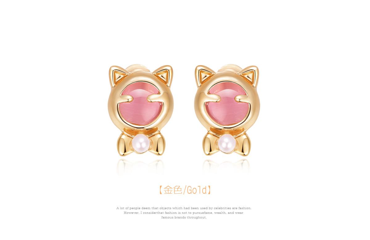療癒系貓耳珍珠黏式耳環,金色