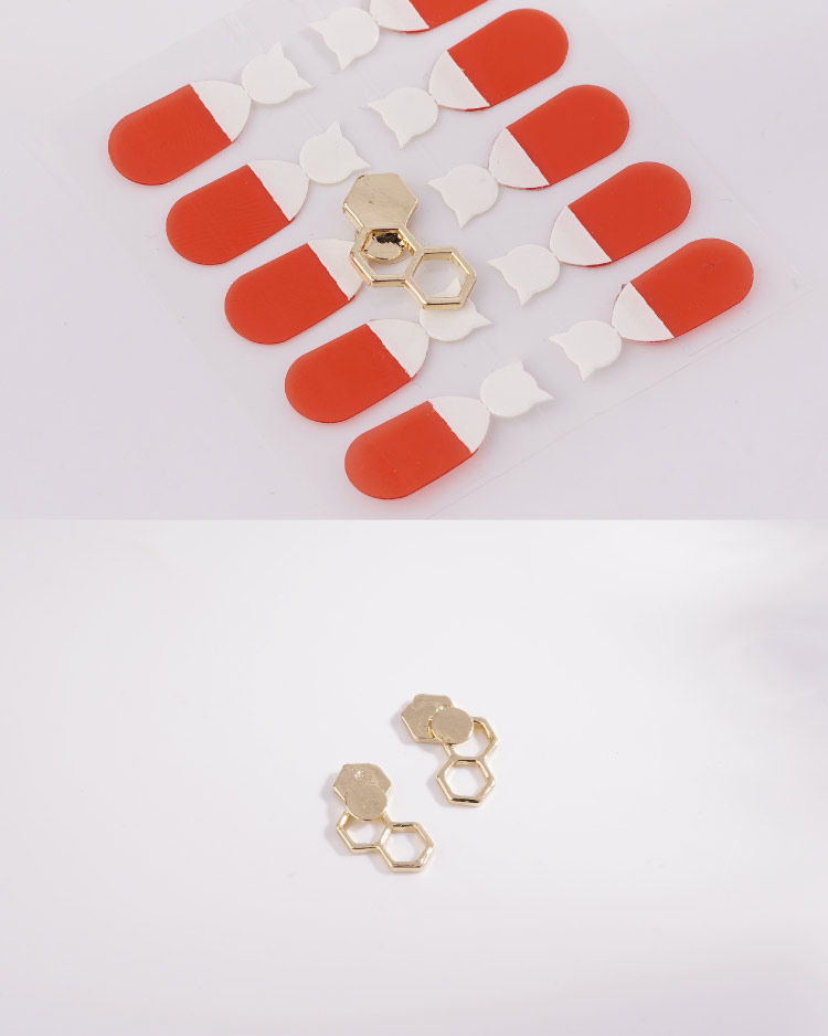 時尚幾何設計蜂巢 耳針/無耳洞黏貼式耳環 細節展示