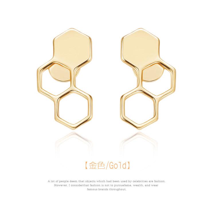 時尚幾何設計蜂巢黏式耳環,金色