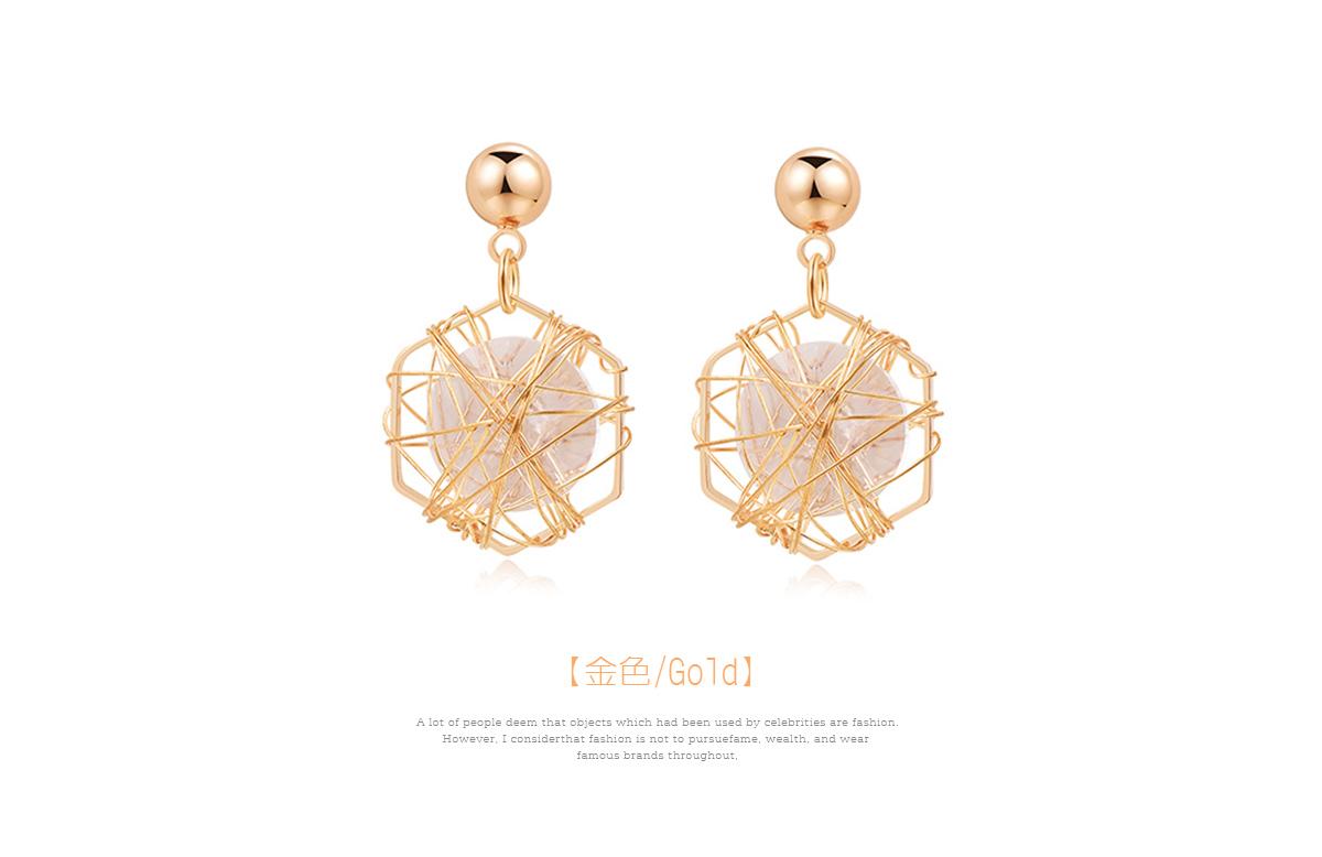 六角鐵絲纏繞水鑽黏式耳環,金色
