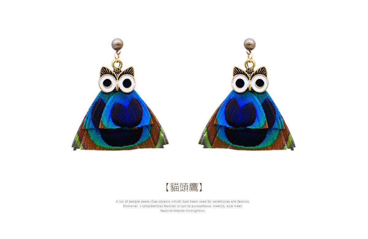 彩色羽毛貓頭鷹黏式耳環,貓頭鷹