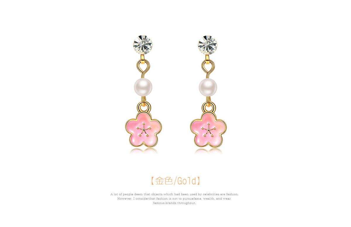 浪漫唯美粉嫩櫻花 耳針/黏式耳環,金色