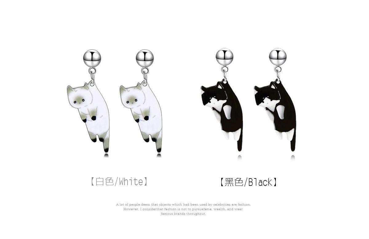 俏皮呆萌黑白小貓咪 耳針/黏式耳環,白色,黑色