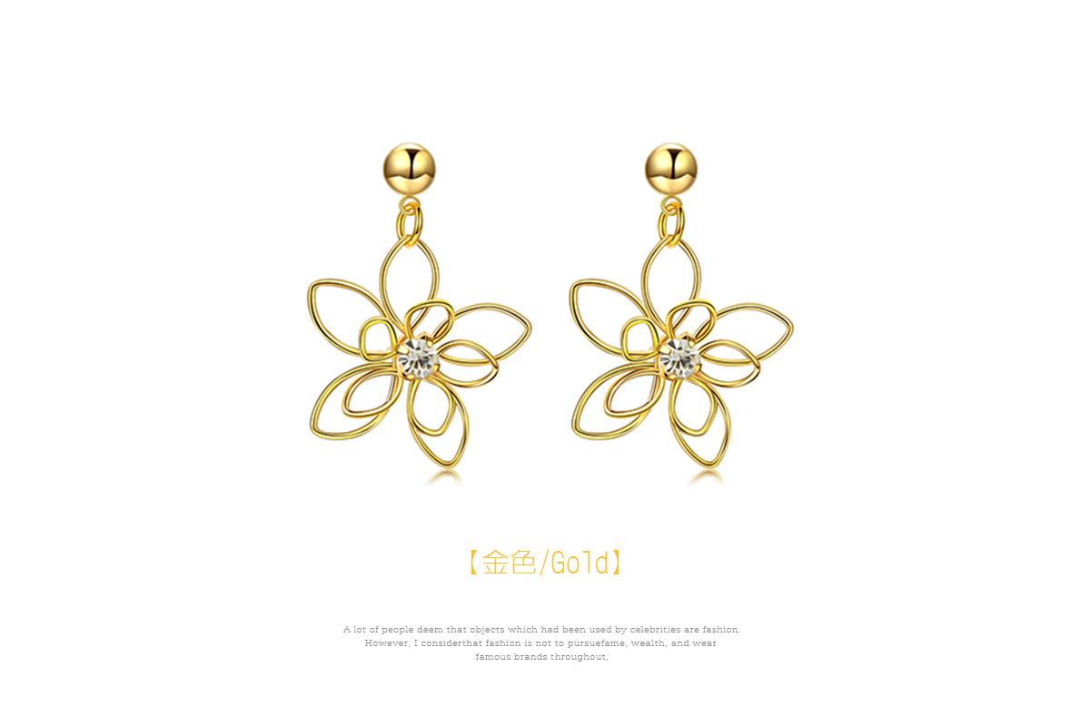氣質立體編織簍空花朵黏式耳環,金色